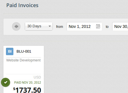 See how much you invoiced for in a month