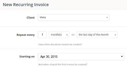 Automatic recurring invoices