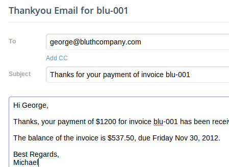 Send a thankyou email after receiving a credit card payment