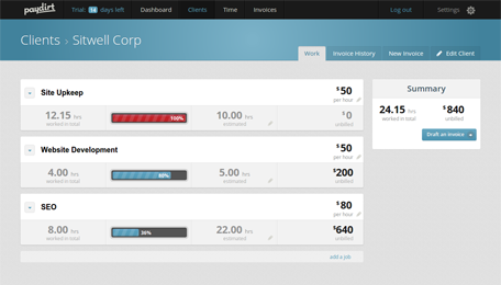 Track your clients billable projects and hours